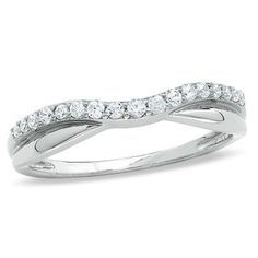 womens twist contour diamond wedding band 14k white gold 14ct zales nwt - Wedding Rings At Zales