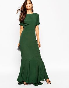 Green Short-sleeve, Fishtail Maxi Dress (photo: ASOS). Long & Short Bridesmaid dresses (and jumpsuits) in colors perfect for any fall/winter wedding (and even all year round).