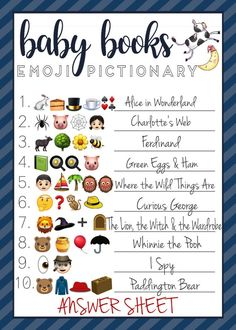 Emoji Pictionary baby shower game for boys - guests have to guess what the title of the baby book using only emojis! Games For Boys, Books For Boys, Baby Games, Baby Shower Games, Baby Boy Shower, Emoji Quiz, Emoji Games, Baby Shower Virtual, Pictionary