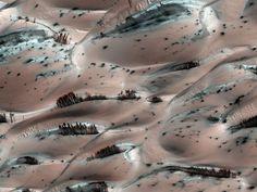 """Não se engane: os supostos """"troncos de árvore"""" que aparecem na imagem acima são, na verdade, grandes filetes de areia escura se espalhando por dunas em Marte"""