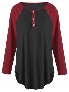 de3f8573bb6182 Plus Size Two Tone Raglan Sleeve Top with Buttons - Black And Red -