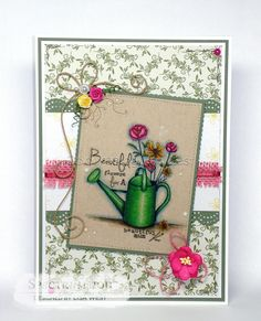 Designed by Lisa West using Flowers for Mum from All Dressed Up Stamps and Coloured using Spectrum Noir Original Markers Unless Stated Watering Can: IG10, JG6, JG4, JG2, AG2, AG1 Flowers: MG5, MG4, MG2, GB10, GB9, GB7, GB3, GB1, DR7 Background: BG7, BG5, BG2, TB3, TB2, TB1, Blender #spectrumnoir #coloring #colouring #handmadecard