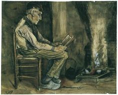 Vincent van Gogh, Farmer Sitting at the Fireside, Reading - (1881)