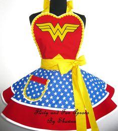 Wonder Woman Costume Apron by FlirtyandFunAprons on Etsy