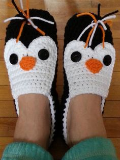Crochet penguin slippers - made-to-order - super cute!!!