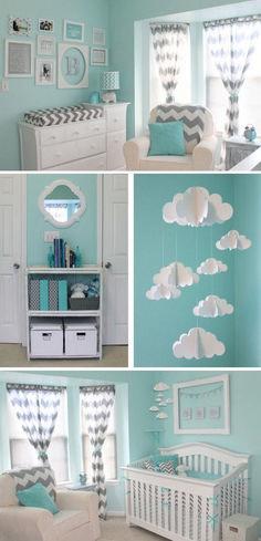 34 Super Ideas For Baby Boy Nursery Room Ideas Green Blue Grey Chevron Nursery, Mint Nursery, Baby Boy Nursery Themes, Baby Boy Rooms, Baby Boy Nurseries, Baby Room Decor, Nursery Room, Mint Chevron, Nursery Ideas