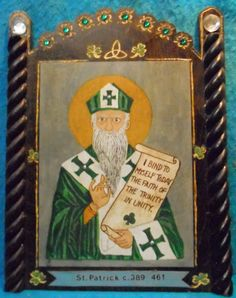 St. Patrick Bust Retablo - Feast Day - March 17 - pinned by pin4etsy.com