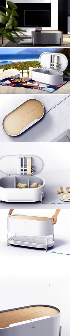 The OOINO Mini Refrigerator is first of its kind, this micro fridge doubles as a tasteful furniture piece with its modern shape and material combination featuring natural wood. Disguised as a coffee or side table, the compact design provides quick access to cold beverages and snacks without having to run to the kitchen.