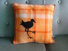 Vintage nz wool cushion with pukeko motif Cushion Cover Pattern, Cushion Fabric, Cushion Covers, Blanket Stitch, Wool Blanket, Vintage Blanket, Recycled Fabric, Recycled Blankets, Kiwiana