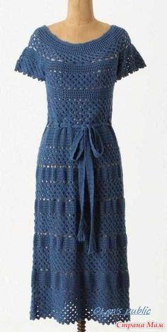 . Голубое платье на круглой кокетке крючком от Anthropologie. - Все в ажуре... (вязание крючком) - Страна Мам