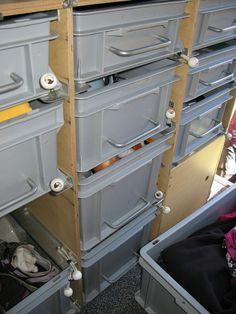 Caravan Storage İdeas 541980136388099922 - DIY drawers Source by aseips Van Storage, Trailer Storage, Garage Storage, Storage Ideas, Van Shelving, Shelves, Van Organization, Kangoo Camper, Van Racking