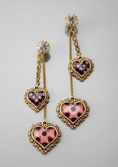 BETSEY JOHNSON  Linear Polka Dot Heart Earrings