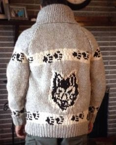 Wolf head Pdf Pattern designed by B. Fogarty Suitable for Men and Women Pattern is for Size and Materials Needed: 6 strand Wool 2 lbs Color A 1 lbs Color B lb Color C Needles. Size mm (the graph resolution is blurry and I do need to Native Canadian, Thing 1, Sweater Knitting Patterns, Vintage Knitting, Knit Cardigan, Pattern Design, Wolf, Winter Hats, My Etsy Shop