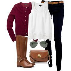 tory burch riding boots, black jegging, white tank, burgundy cardigan