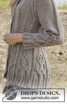 """Knitted DROPS jacket with cables and raglan, worked top down in """"Karisma"""". Size S-XXL ~ DROPS Design"""