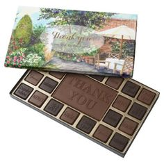 Terrace of The Manor House Watercolor Painting Assorted Chocolates - thank you gifts ideas diy thankyou