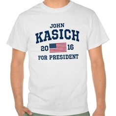 John Kasich For President shirts in styles and sizes for male or female of all ages.  Designed by Keep Right.