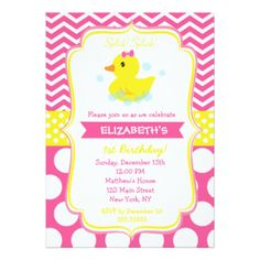 Rubber ducky duck photo birthday party invitations ducky duck rubber duck birthday party invitations girl filmwisefo Image collections