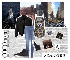 """""""empire state of mind."""" by stellastellahankinson ❤ liked on Polyvore featuring LE3NO, Paige Denim, Polaroid, Custommade, Kate Spade, Keds, Chanel, black and Newyork"""