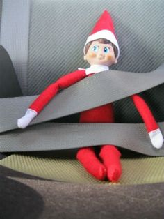 If your kids like to run all over the house looking to see where the elf landed, imagine the surprise it will be to find him tucked safely into the car! Elf on the Shelf Ideas: catch your elf being healthy and tag with #HealthyElf.