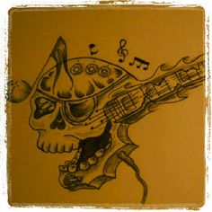 Skull / guitar / music tattoo idea by kizza95x_. For more guitar related articles, visit: www.guitarjar.co.uk