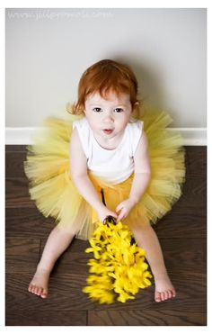 Hello Sunshine Tutu  Golden Yellow Sunflower by littlehbigstyle, $25.00