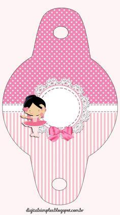 """canudinho  Kit de Personalizados Tema """"Bailarina Rosa"""" para Imprimir - Convites Digitais Simples"""