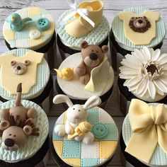 Trendy Ideas For Cupcakes Decoration For Baby Shower Boy Fondant Baby Cakes, Baby Shower Cakes, Baby Boy Shower, Baby Shower Cupcakes Neutral, Fondant Cupcake Toppers, Fondant Baby, Cupcake Cakes, Fondant Rose, Fondant Flowers