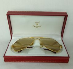 100% Authentic Must De CARTIER Santos Vendome Sunglasses With Box MINT  #Cartier #Sunglasses