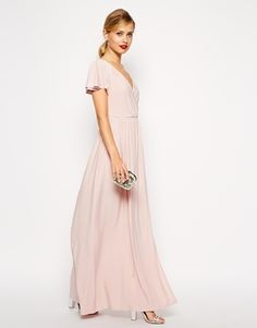 ASOS Flutter Sleeve Wrap Maxi Dress