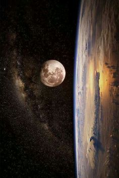 Earth, milkyway, space and moon.