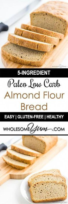 Low Carb Recipes Low Carb Bread Recipe - Almond Flour Bread (Paleo, Gluten-free) - Looking for the best low carb bread recipe? According to wholesomeyum the texture is just like wheat bread. It's gluten-free and easy to make with only 5 ingredients. Easy Low Carb Bread Recipe, Best Low Carb Bread, No Bread Diet, Lowest Carb Bread Recipe, Quick Bread, Ketogenic Recipes, Gluten Free Recipes, Low Carb Recipes, Ketogenic Diet