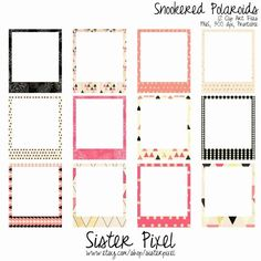Polaroid Round Labels Template Awesome Geometric Frames Clip Art Pink and Black Marco Polaroid, Polaroid Frame Png, Polaroid Picture Frame, Polaroid Template, Polaroid Pictures, Frame Template, Picture Frames, Diy And Crafts, Paper Crafts