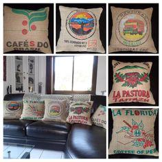 Housses de coussins - toile de jute de sac de café recyclee- burlap - jeans - http://octobreboheme.e-monsite.com/