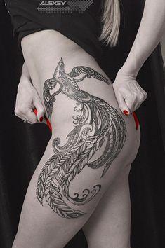 Blackwork tattoo on thigh by Aleksey Lopatin Leg Tattoos Women, Girl Back Tattoos, Arm Tattoos For Guys, Sexy Tattoos, Body Art Tattoos, Hand Tattoos, Cool Tattoos, Tatoos, Phoenix Tattoo Feminine