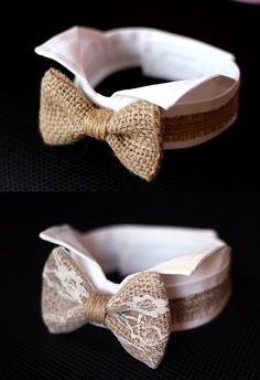 This listing is for one collar: white collar with burlap bowtie. Choose your style: with or without lace. With velcro hook-and-loop fasteners on the back.  Dog tuxedo cuffs: https://www.etsy.com/listing/240822041  The other style of dog bowtie collar: https://www.etsy.com/listing/208327020  -----------------------  Feel free to contact me if you need other colors. We have a lot of beautiful colors of bows in our shop, I would be very happy to help you find the right color to match your…