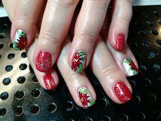 Christmas poinsettias nail art by Heather Jenkins