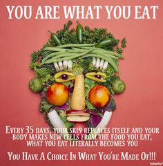Every 35 days, your skin replaces itself and your body makes new cells from the food you eat, What you eat literally becomes you.  You have a choice in what you're made of!  Wellness Coach sofiadiogomorais@gmail.com