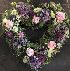Wild Flowers - Heart wreath funeral flowers tribute in soft lilacs and pink - Funeral Floral Arrangements, Flower Arrangements, Funeral Flowers, Wedding Flowers, Funeral Bouquet, Funeral Tributes, Sympathy Flowers, Christmas Flowers, Heart Wreath