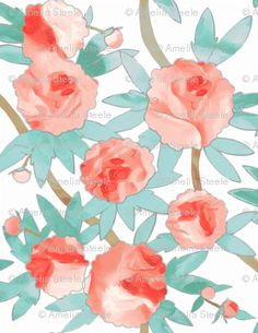 paeonia in watercolor by sparrowsong, on spoonflower