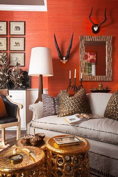 Design firm Accents et Details featured Juicy Jute 4816 Orange Nectarine in living room of the 2011 Old Westbury Gardens Showhouse.