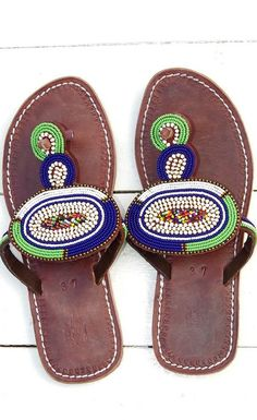 Studio One Eighty Nine Green and Blue Circle Beaded Sandals Shoes Flats Sandals, Beaded Sandals, Leather Sandals, Shoe Boots, Bohemian Sandals, African Accessories, Palm Beach Sandals, Color Pop, Finding Yourself