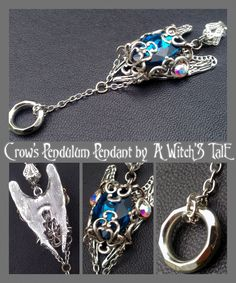 """Crow's Pendulum Pendant"" by A Witch's Tale Instagram: https://www.instagram.com/awitchstale/  #jewels #chains #crow #pendulum #pendant #awitchstale #gemstone #craft #witch #amulet #wings #accessory #silver #crystal #gothic #dark #necklace"