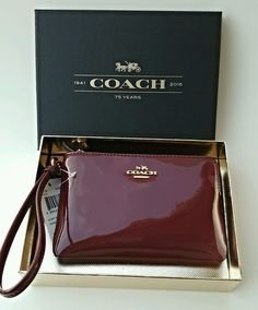 COACH Burgundy Smooth Patent Leather Wristlet Wallet Christmas Gift F55739 NWT #Coach #WristletWallet