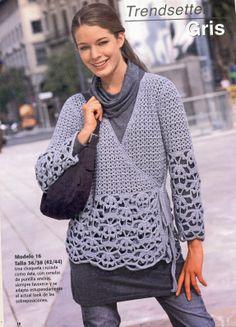 Patrones Crochet: Chaqueta Tejida Cruzada Patron