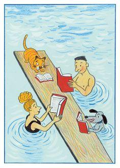 el diario de libros, ilustrado por rotraut susanne berner, reading books while swimming (man, woman, dog, & cat)