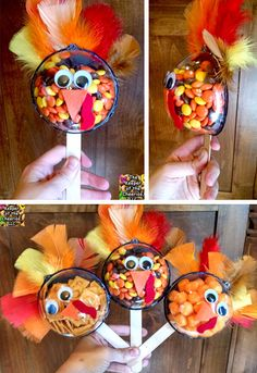 These Thanksgiving candy turkey treats are so much fun to make with the kids. Perfect for class treats or the Thanksgiving table! Thanksgiving Activities For Kids, Thanksgiving Crafts For Kids, Thanksgiving Parties, Thanksgiving Decorations, Holiday Crafts, Thanksgiving Turkey, Turkey Decorations, Thanksgiving Birthday, Candy Crafts
