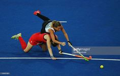 Kate Walsh of Great Britain and Delfina Merino of Argentina challenge for the ball during the Women's Hockey semi-final match between Argentina and Great Britain on Day 12 of the London 2012 Olympic Games at Riverbank Arena Hockey Centre on August 8, 2012 in London, England.