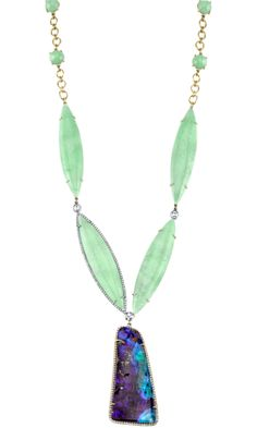 Irene Neuwirth Mint Chrysoprase, Boulder Opal & Diamond Necklace