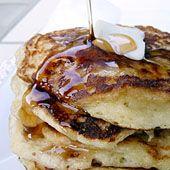 Greek Yogurt Pancakes, only 4 ingredients!: 6 oz of your favorite Greek yogurt, 1 egg, 1/2 cup flour, &  1 tsp baking soda